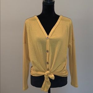 Tops - Small Mustard Long Sleeve Button up w/ Tie Front